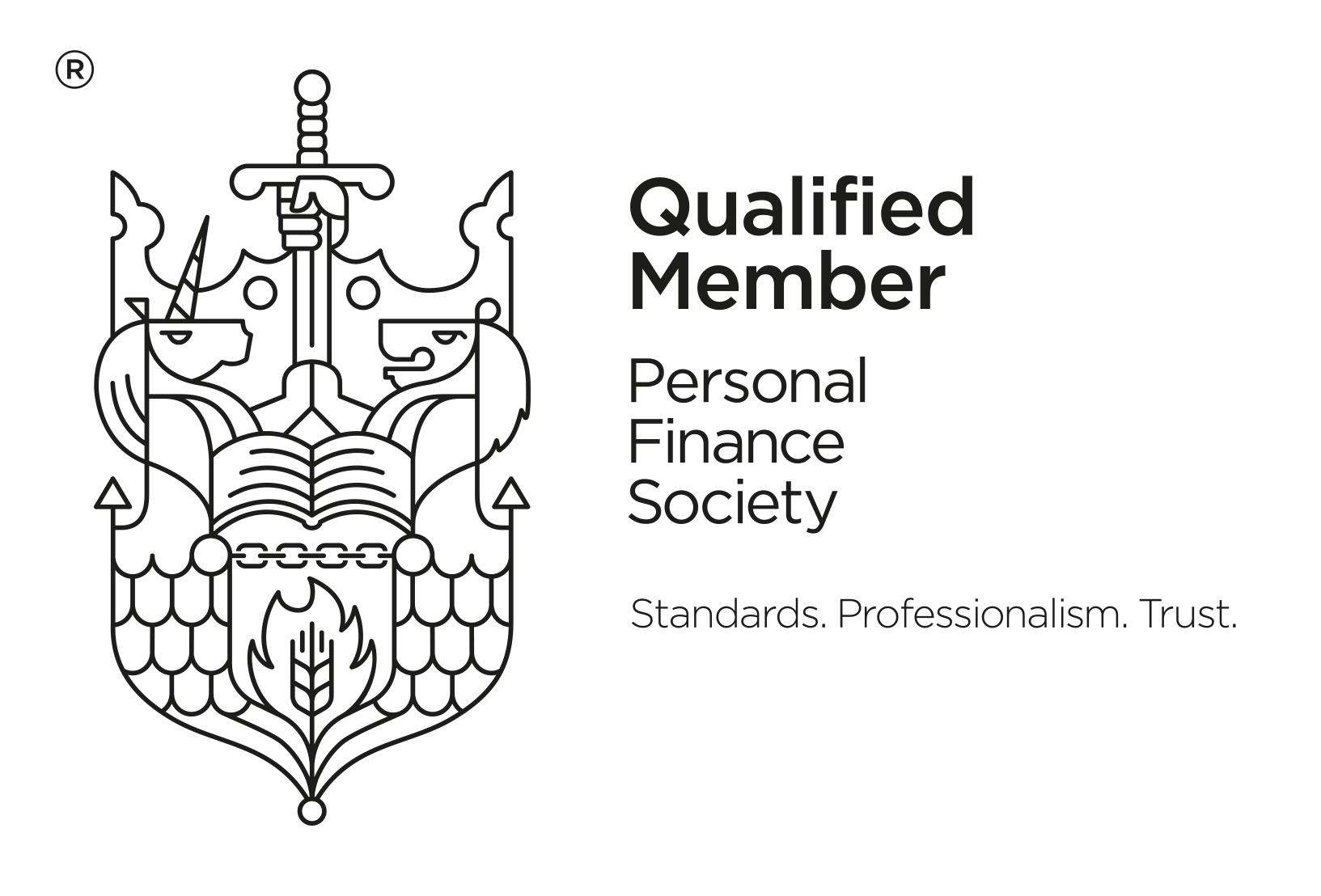 Qualified Member PFS Black with strapline